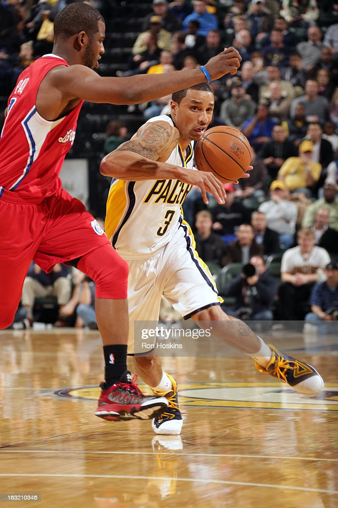 George Hill #3 of the Indiana Pacers drives to the basket against the Los Angeles Clippers on February 28, 2013 at Bankers Life Fieldhouse in Indianapolis, Indiana.