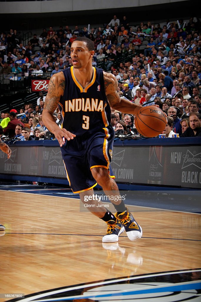 George Hill #3 of the Indiana Pacers drives to the basket against the Dallas Mavericks on March 28, 2013 at the American Airlines Center in Dallas, Texas.