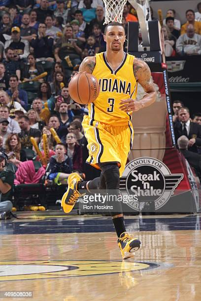 George Hill of the Indiana Pacers drives to the basket against the Oklahoma City Thunder during the game on April 12 2015 at Bankers Life Fieldhouse...