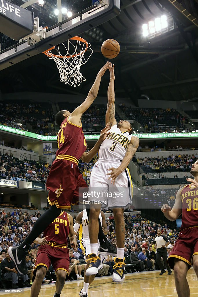 George Hill #3 of the Indiana Pacers drives to the hoop against the Cleveland Cavaliers on April 8, 2013 at Bankers Life Fieldhouse in Indianapolis, Indiana.
