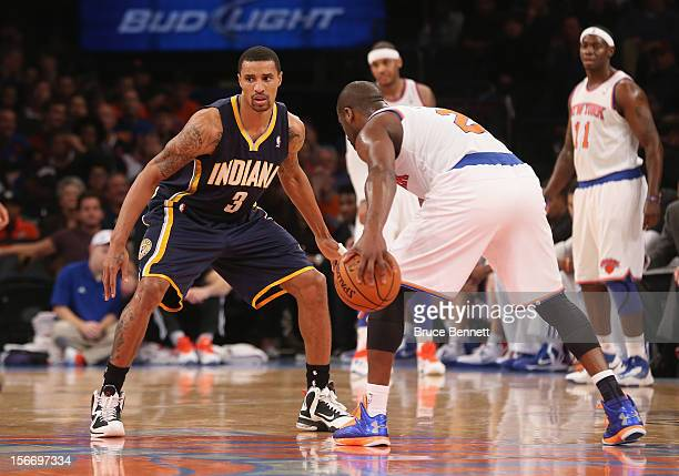 George Hill of the Indiana Pacers guards against the New York Knicks at Madison Square Garden on November 18 2012 in New York City NOTE TO USER User...