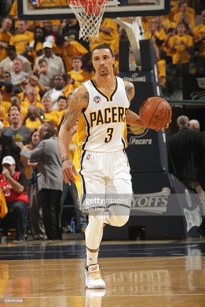 <a gi-track='captionPersonalityLinkClicked' href=/galleries/search?phrase=George+Hill&family=editorial&specificpeople=6831399 ng-click='$event.stopPropagation()'>George Hill</a> #3 of the Indiana Pacers handles the ball against the Toronto Raptors in Game Six of the Eastern Conference Quarterfinals during the 2016 NBA Playoffs on April 29, 2016 at Bankers Life Fieldhouse in Indianapolis, Indiana.