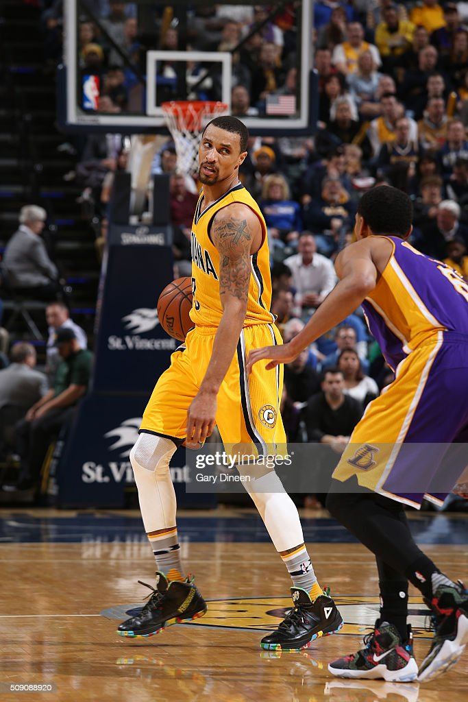 George Hill #3 of the Indiana Pacers handles the ball against the Los Angeles Lakers on February 8, 2016 at Bankers Life Fieldhouse in Indianapolis, Indiana.