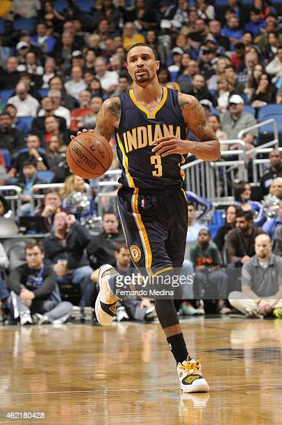 George Hill of the Indiana Pacers handles the ball against the Orlando Magic on January 25 2015 at Amway Center in Orlando Florida NOTE TO USER User...