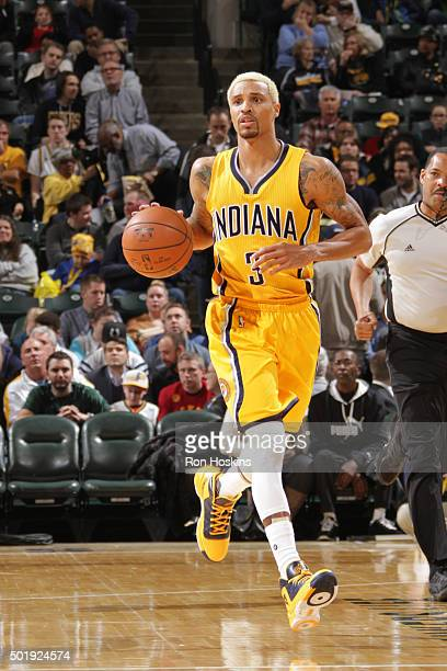 George Hill of the Indiana Pacers handles the ball against the Brooklyn Nets on December 18 2015 at Bankers Life Fieldhouse in Indianapolis Indiana...