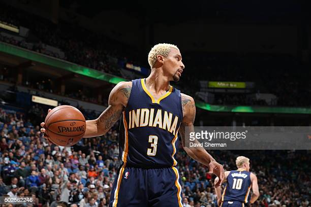 George Hill of the Indiana Pacers handles the ball against the Minnesota Timberwolves on December 26 2015 at Target Center in Minneapolis Minnesota...