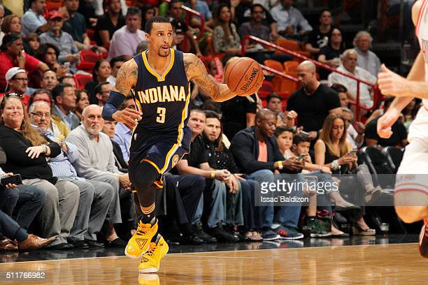 George Hill of the Indiana Pacers handles the ball during the game against the Miami Heat on February 22 2016 at AmericanAirlines Arena in Miami...