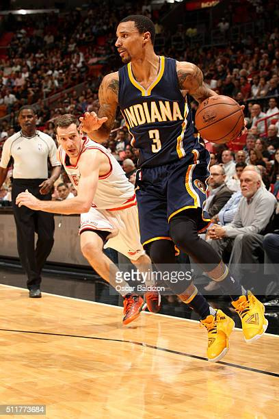 George Hill of the Indiana Pacers handles the ball during the game against the Miami Heat on February 22 2016 at American Airlines Arena in Miami...