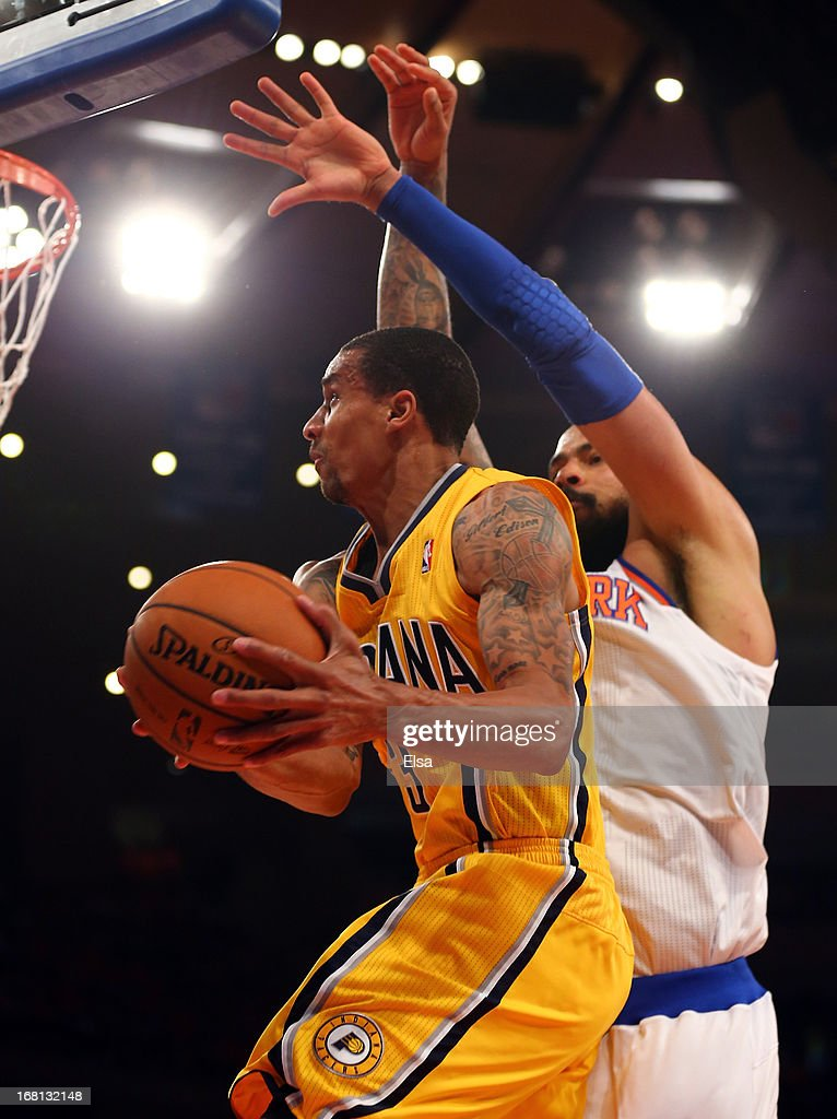 George Hill #3 of the Indiana Pacers heads for the net as <a gi-track='captionPersonalityLinkClicked' href=/galleries/search?phrase=Tyson+Chandler&family=editorial&specificpeople=202061 ng-click='$event.stopPropagation()'>Tyson Chandler</a> #6 of the New York Knicks defends during Game One of the Eastern Conference Semifinals of the 2013 NBA Playoffs on May 5, 2013 at Madison Square Garden in New York City.