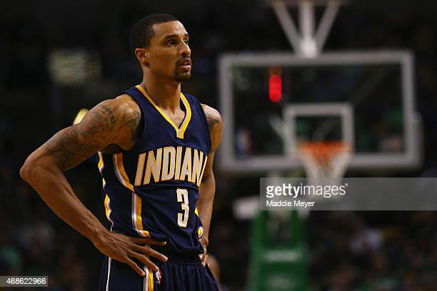 George Hill of the Indiana Pacers looks on during the fourth quarter against the Boston Celtics at TD Garden on April 1 2015 in Boston Massachusetts...