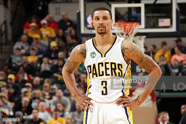 George Hill of the Indiana Pacers looks on during the game against the Charlotte Hornets on February 26 2016 in Indianapolis Indiana NOTE TO USER...
