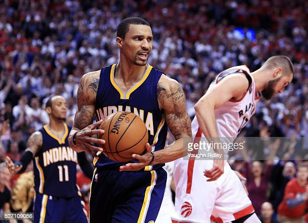 George Hill of the Indiana Pacers looks on late in the second half of Game Seven of the Eastern Conference Quarterfinals against the Toronto Raptors...
