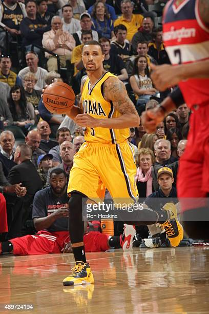 George Hill of the Indiana Pacers looks to move the ball against the Washington Wizards during the game on April 14 2015 at the Bankers Life...
