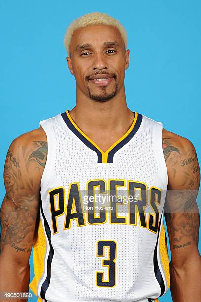 George Hill of the Indiana Pacers poses for a head shot during the Indiana Pacers media day at Bankers Life Fieldhouse on September 28 2015 in...