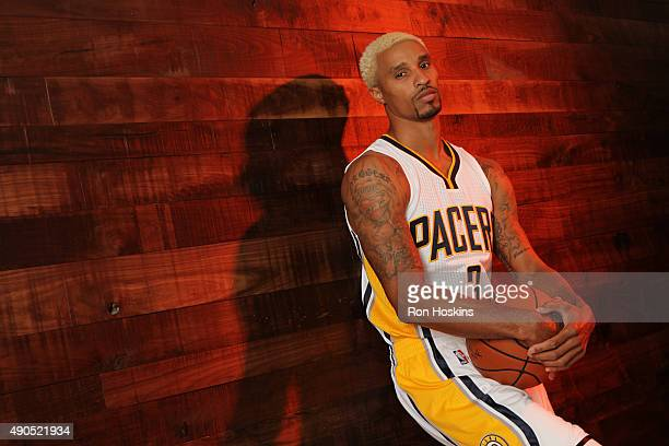 George Hill of the Indiana Pacers poses for a portrait during the Indiana Pacers media day at Bankers Life Fieldhouse on September 28 2015 in...