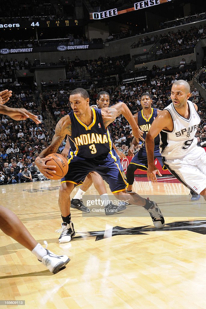 George Hill #3 of the Indiana Pacers protects the ball during the game between the Indiana Pacers and the San Antonio Spurs on November 5, 2012 at the AT&T Center in San Antonio, Texas.