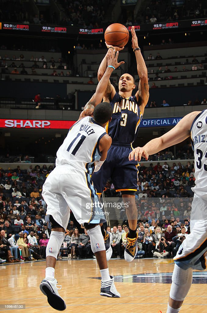 George Hill #3 of the Indiana Pacers puts up a shot against the Memphis Grizzlies on January 21, 2013 at FedExForum in Memphis, Tennessee.