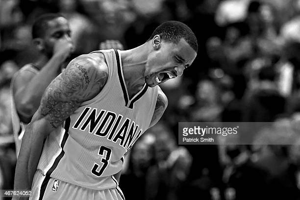 George Hill of the Indiana Pacers reacts after defeating the Washington Wizards at Verizon Center on March 25 2015 in Washington DC The Indiana...