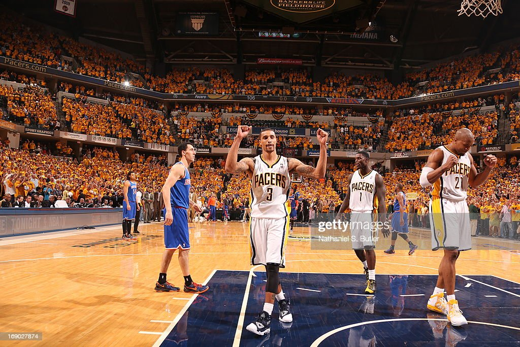 George Hill #3 of the Indiana Pacers reacts to crowd applause after a win against the New York Knicks in Game Six of the Eastern Conference Semifinals during the 2013 NBA Playoffs on May 18, 2013 at Bankers Life Fieldhouse in Indianapolis, Indiana.