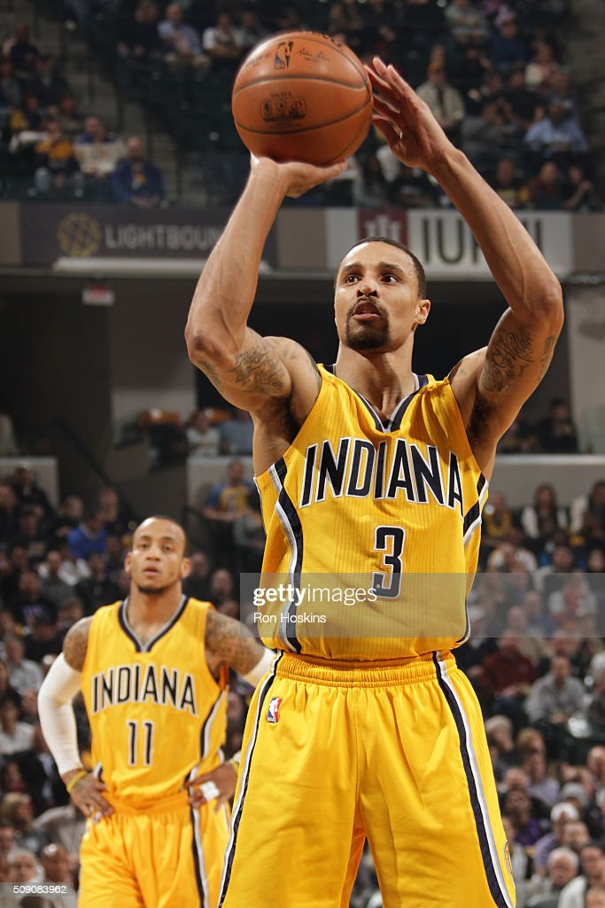 <a gi-track='captionPersonalityLinkClicked' href=/galleries/search?phrase=George+Hill+-+Basketball+Player&family=editorial&specificpeople=6831399 ng-click='$event.stopPropagation()'>George Hill</a> #3 of the Indiana Pacers shoots a free throw against the Los Angeles Lakers on February 8, 2016 at Bankers Life Fieldhouse in Indianapolis, Indiana.