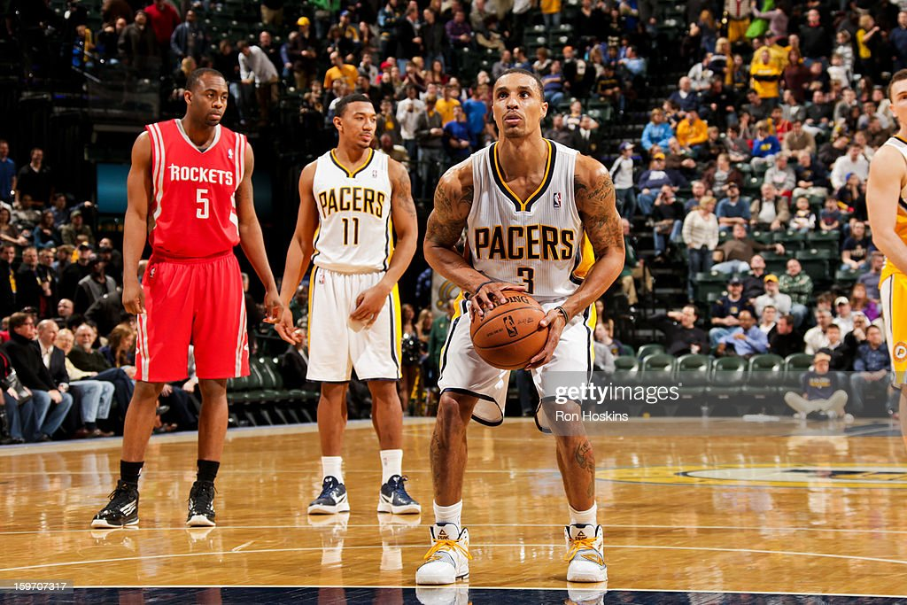 George Hill #3 of the Indiana Pacers shoots a free-throw against the Houston Rockets on January 18, 2013 at Bankers Life Fieldhouse in Indianapolis, Indiana.