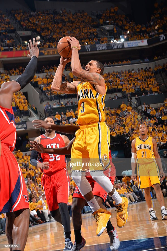 George Hill #3 of the Indiana Pacers shoots against the Atlanta Hawks in Game Seven of the Eastern Conference Quarterfinals during the 2014 NBA Playoffs on May 3, 2014 at Bankers Life Fieldhouse in Indianapolis, Indiana.