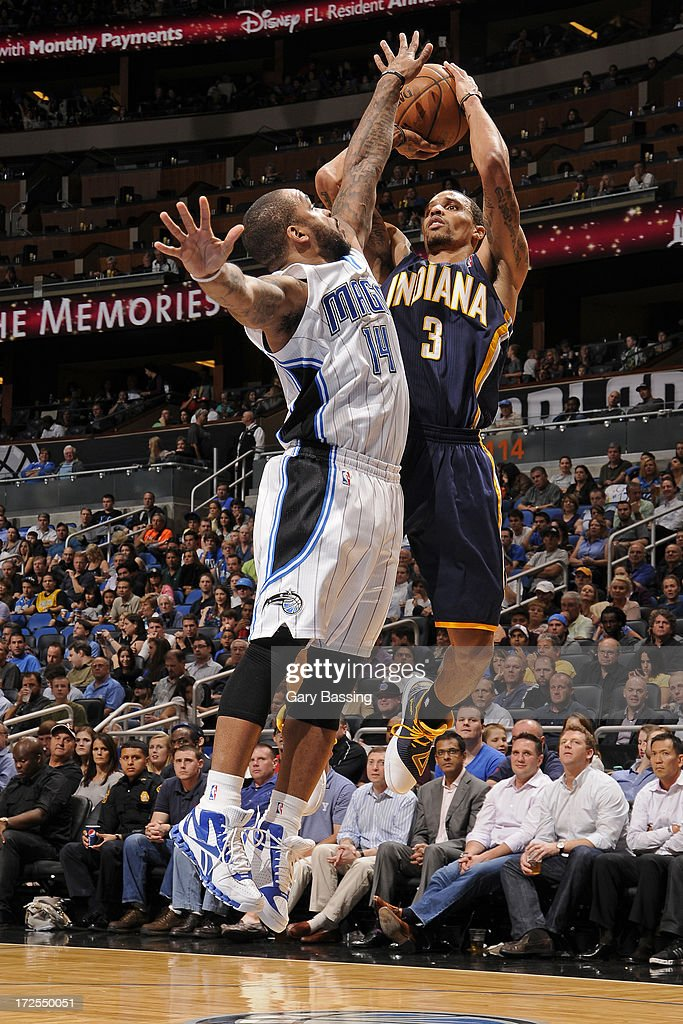 George Hill #3 of the Indiana Pacers shoots over <a gi-track='captionPersonalityLinkClicked' href=/galleries/search?phrase=Jameer+Nelson&family=editorial&specificpeople=202057 ng-click='$event.stopPropagation()'>Jameer Nelson</a> #14 of the Orlando Magic during a game on January 16, 2013 at Amway Center in Orlando, Florida.