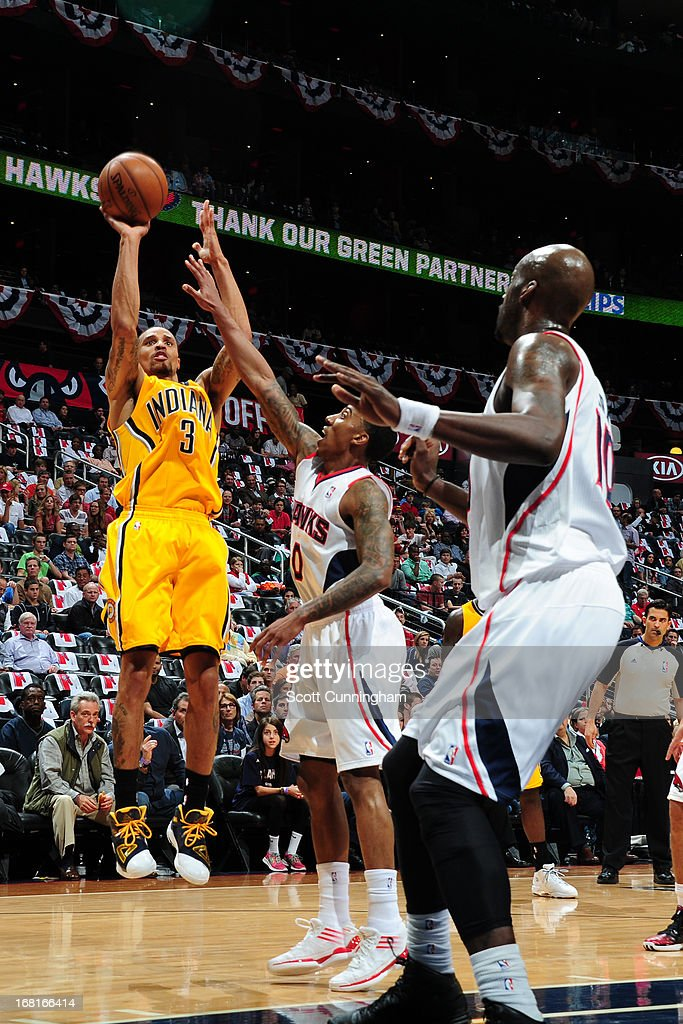 George Hill #3 of the Indiana Pacers shoots the ball against the Atlanta Hawks during Game Six of the Eastern Conference Quarterfinals in the 2013 NBA Playoffs on May 3, 2013 at Philips Arena in Atlanta, Georgia.
