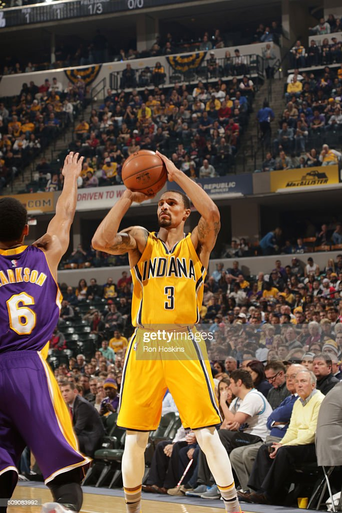 <a gi-track='captionPersonalityLinkClicked' href=/galleries/search?phrase=George+Hill+-+Basketball+Player&family=editorial&specificpeople=6831399 ng-click='$event.stopPropagation()'>George Hill</a> #3 of the Indiana Pacers shoots the ball against the Los Angeles Lakers on February 8, 2016 at Bankers Life Fieldhouse in Indianapolis, Indiana.