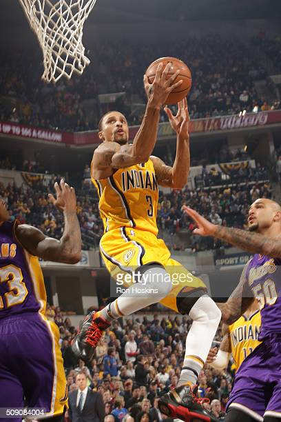 George Hill of the Indiana Pacers shoots the ball against the Los Angeles Lakers on February 8 2016 at Bankers Life Fieldhouse in Indianapolis...