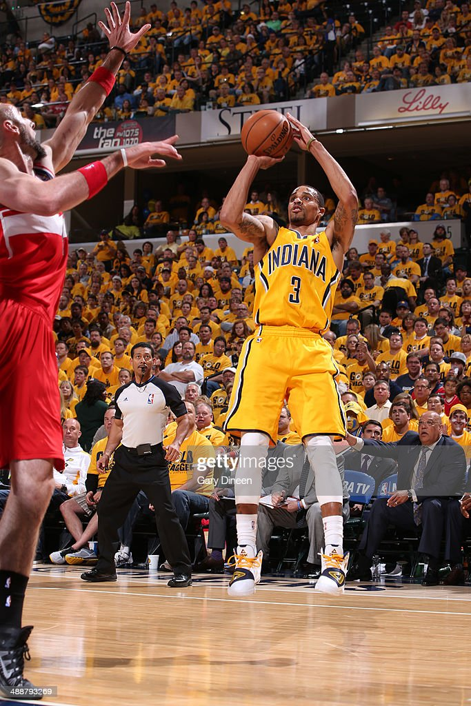 George Hill #3 of the Indiana Pacers shoots the ball during Game One of the Eastern Conference Semifinals against the Washington Wizards on May 5, 2014 at Bankers Life Fieldhouse in Indianapolis, Indiana.