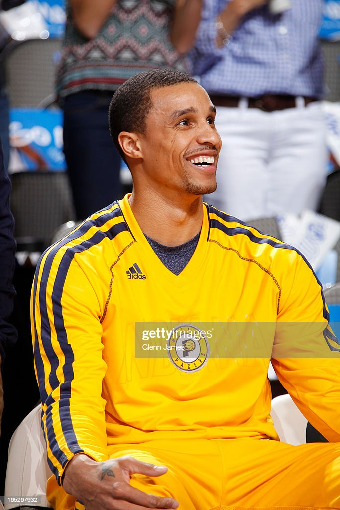 George Hill #3 of the Indiana Pacers sits on the bench during the game against the Dallas Mavericks on March 28, 2013 at the American Airlines Center in Dallas, Texas.