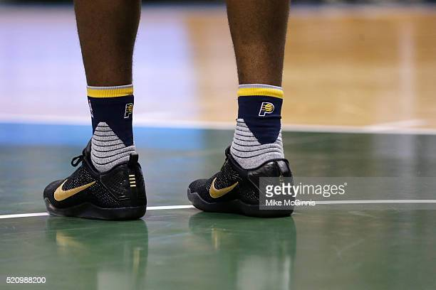 George Hill of the Indiana Pacers stands in the paint during the first quarter in his NIKE signature Mamba shoes against the Milwaukee Bucks at BMO...