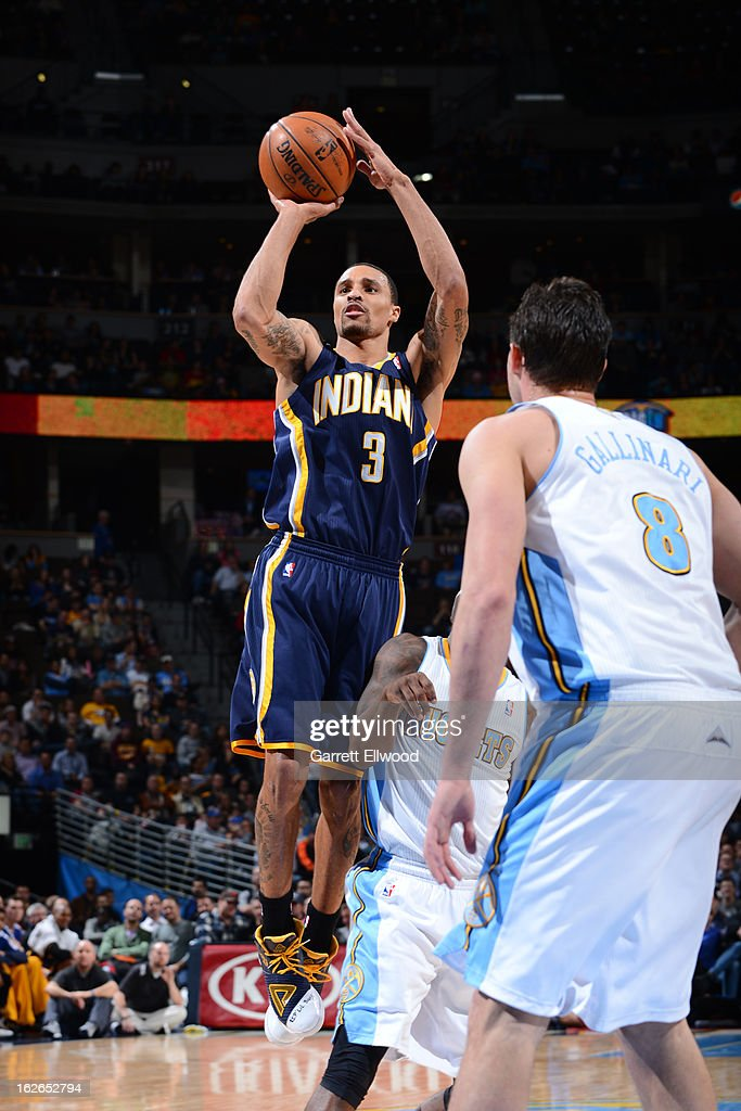George Hill #3 of the Indiana Pacers takes a shot against the Denver Nuggets on January 28, 2013 at the Pepsi Center in Denver, Colorado.