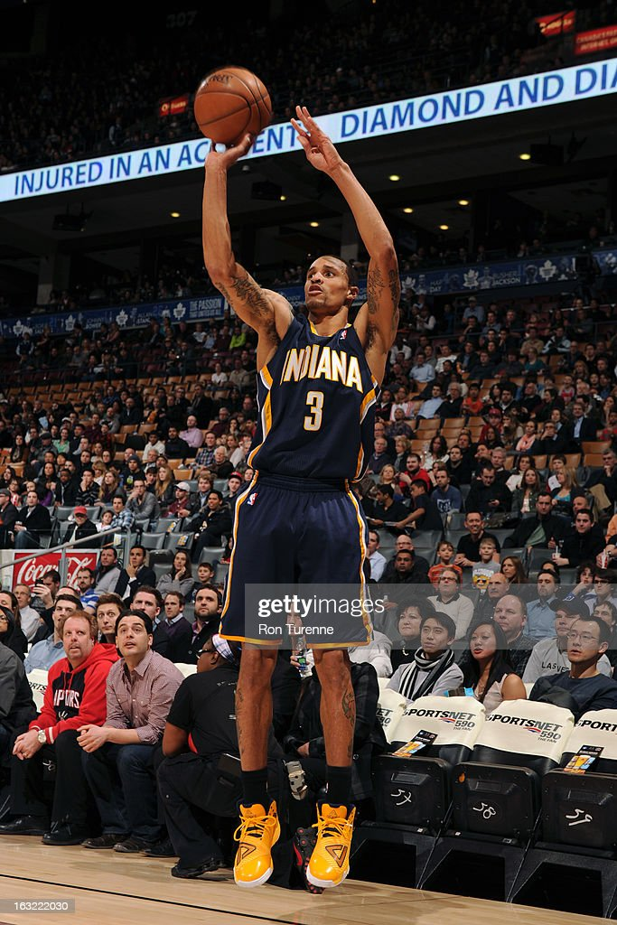 George Hill #3 of the Indiana Pacers takes a shot against the Toronto Raptors on March 1, 2013 at the Air Canada Centre in Toronto, Ontario, Canada.