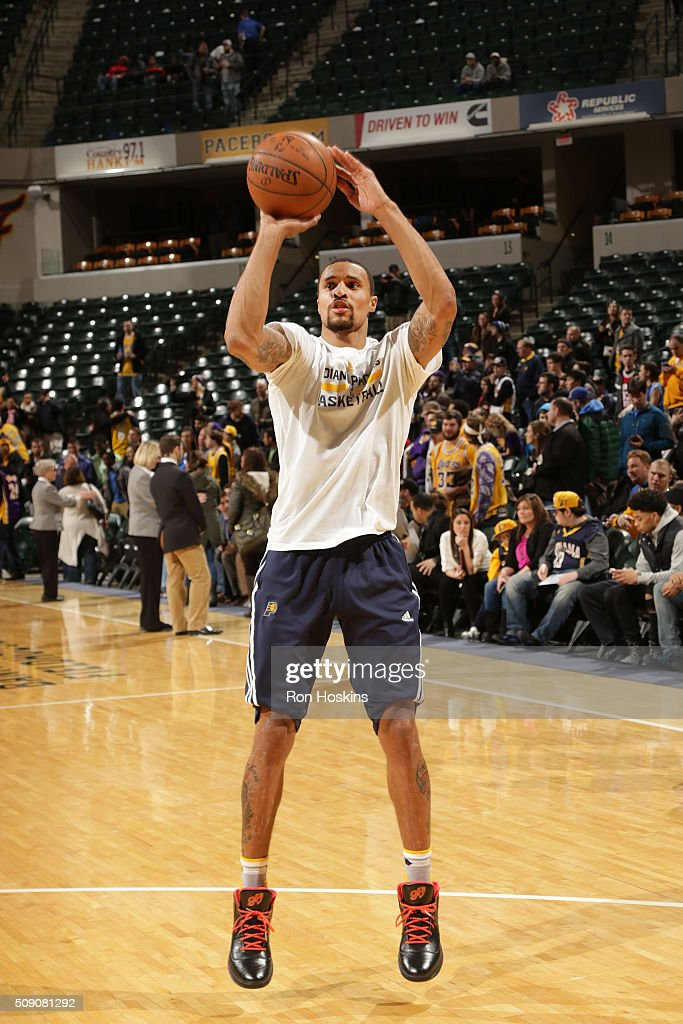 George Hill #3 of the Indiana Pacers warms up before the game against the Los Angeles Lakers on February 8, 2016 at Bankers Life Fieldhouse in Indianapolis, Indiana.