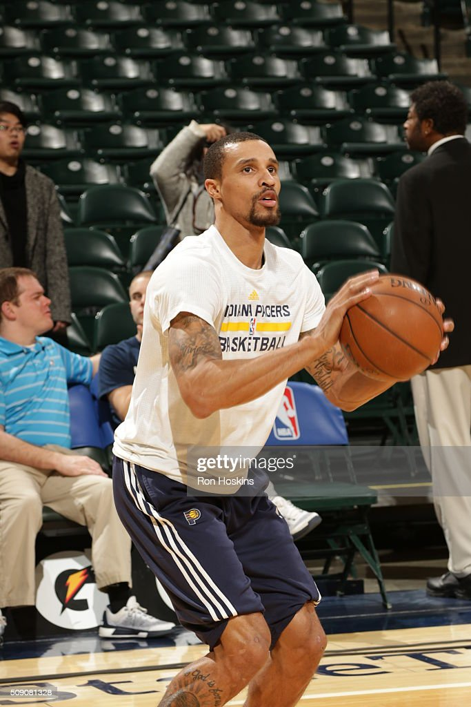 <a gi-track='captionPersonalityLinkClicked' href=/galleries/search?phrase=George+Hill&family=editorial&specificpeople=6831399 ng-click='$event.stopPropagation()'>George Hill</a> #3 of the Indiana Pacers warms up before the game against the Los Angeles Lakers on February 8, 2016 at Bankers Life Fieldhouse in Indianapolis, Indiana.
