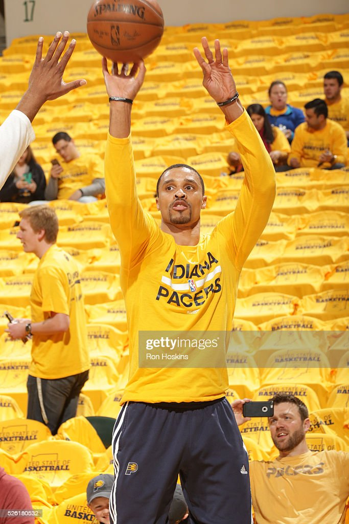 George Hill #3 of the Indiana Pacers warms up before the game against the Toronto Raptors in Game Six of the Eastern Conference Quarterfinals during the 2016 NBA Playoffs on April 29, 2016 at Bankers Life Fieldhouse in Indianapolis, Indiana.