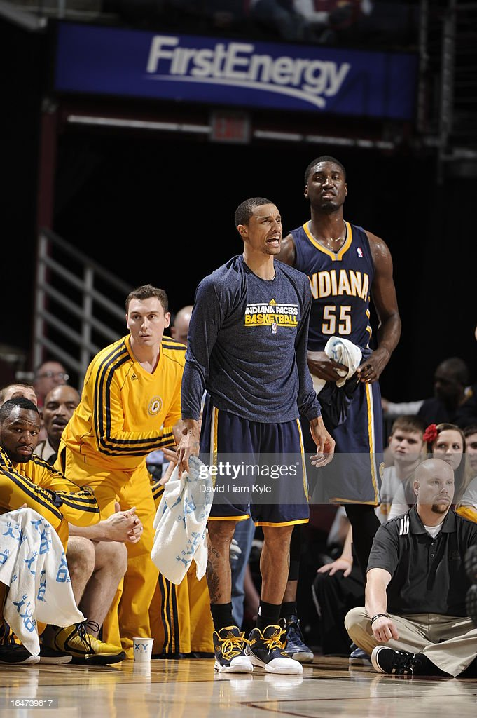 George Hill #3 of the Indiana Pacers yells from the bench during the game against the Cleveland Cavaliers at The Quicken Loans Arena on March 18, 2013 in Cleveland, Ohio.