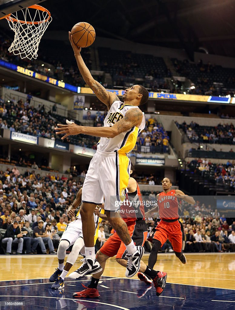 George Hill #3 of the Indiana Pacersshoots the ball during the NBA game against the Toronto Raptors at Bankers Life Fieldhouse on November 13, 2012 in Indianapolis, Indiana.