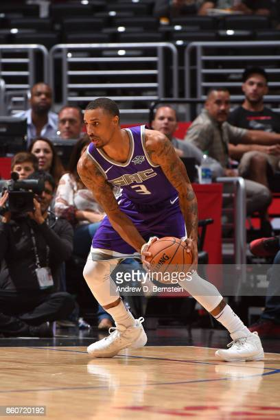 George Hill of the Sacramento Kings handles the ball against the LA Clippers on October 12 2017 at STAPLES Center in Los Angeles California NOTE TO...