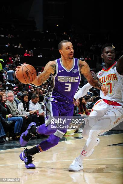 George Hill of the Sacramento Kings handles the ball against the Atlanta Hawks on November 15 2017 at Philips Arena in Atlanta Georgia NOTE TO USER...