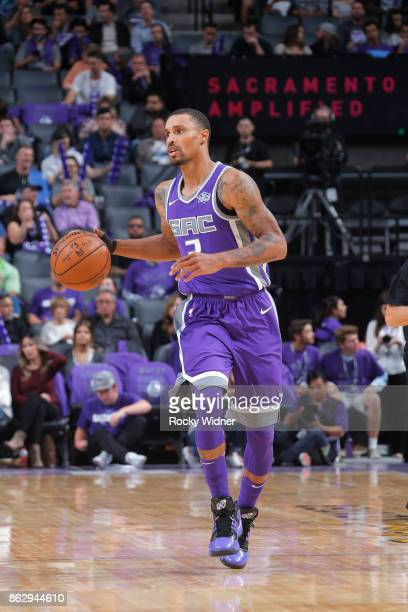 George Hill of the Sacramento Kings handles the ball against the Houston Rockets during the game on October 18 2017 at Golden 1 Center in Sacramento...