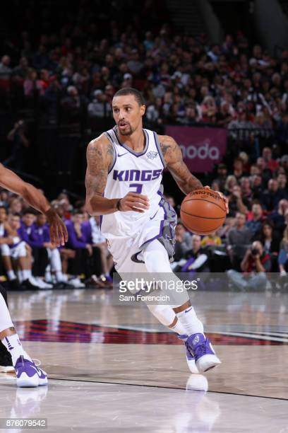 George Hill of the Sacramento Kings handles the ball against the Portland Trail Blazers on November 18 2017 at the Moda Center in Portland Oregon...