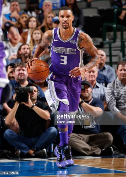 George Hill of the Sacramento Kings handles the ball during the game against the Dallas Mavericks on October 20 2017 at the American Airlines Center...