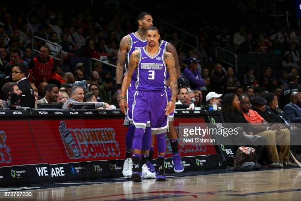 George Hill of the Sacramento Kings looks on against the Washington Wizards on November 13 2017 at Capital One Arena in Washington DC NOTE TO USER...