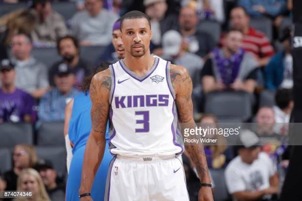 George Hill of the Sacramento Kings looks on during the game against the Oklahoma City Thunder on November 7 2017 at Golden 1 Center in Sacramento...