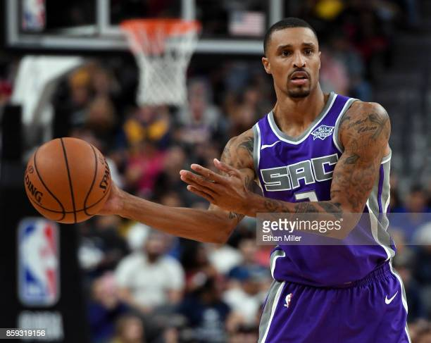 George Hill of the Sacramento Kings looks to pass against the Los Angeles Lakers during their preseason game at TMobile Arena on October 8 2017 in...