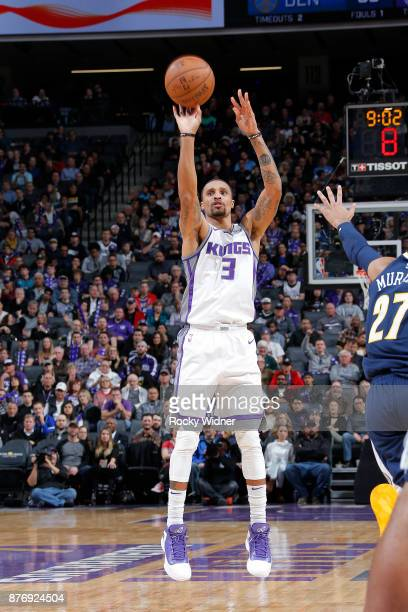 George Hill of the Sacramento Kings shoots the ball against the Denver Nuggets on November 20 2017 at Golden 1 Center in Sacramento California NOTE...