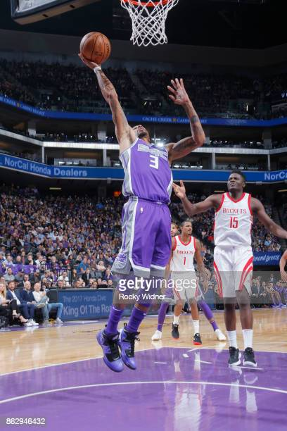 George Hill of the Sacramento Kings shoots the ball against the Houston Rockets during the game on October 18 2017 at Golden 1 Center in Sacramento...